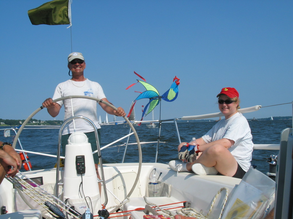 A big Larry smile at the wheel of Chantecler - J/105 sailboat for sale
